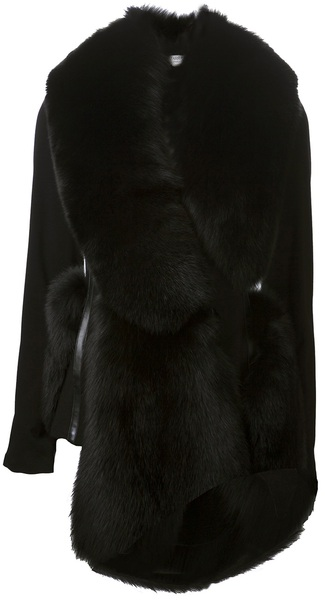 Altuzarra Fox Fur Trim Overcoat in Black | Lyst