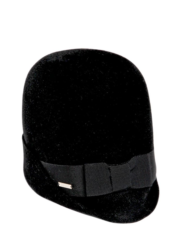 DSQUARED - LAPIN VELOUR HAT WITH GROSGRAIN BAND - LUISAVIAROMA - LUXURY SHOPPING WORLDWIDE SHIPPING - FLORENCE