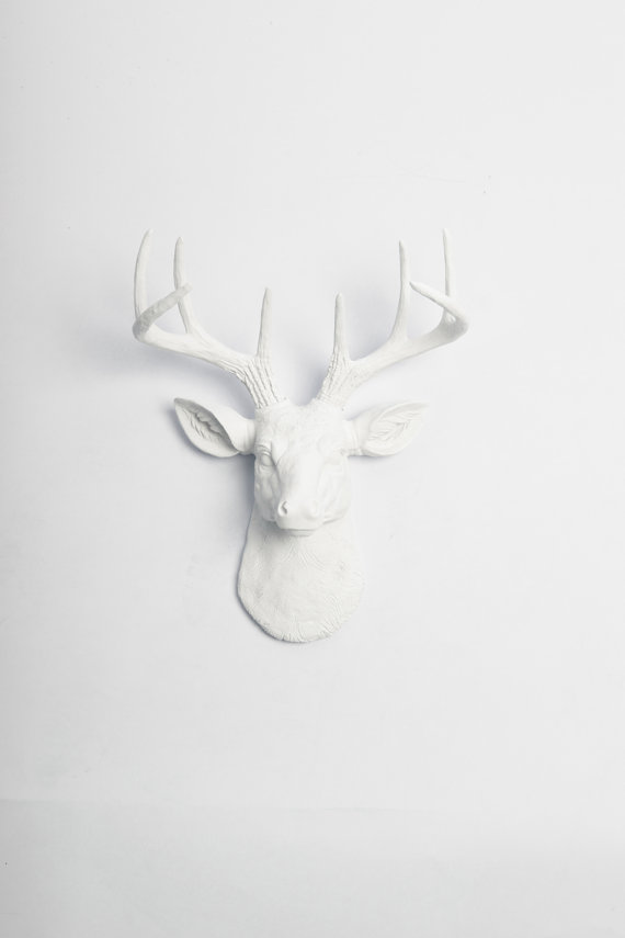 White Faux Deer Head The MINI Templeton by WhiteFauxTaxidermy