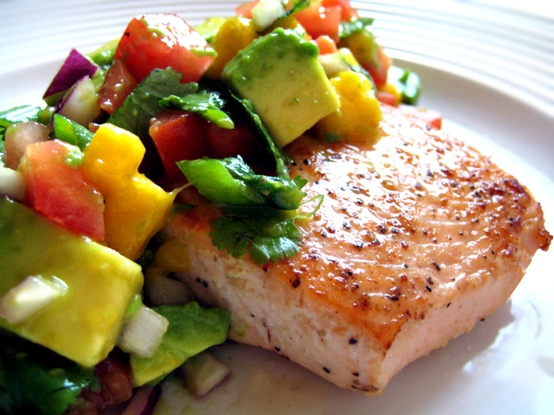 food / Salmon with Avocado Mango Salsa [recipe] – Canyon Ranch Nourish Cookbook Giveaw
