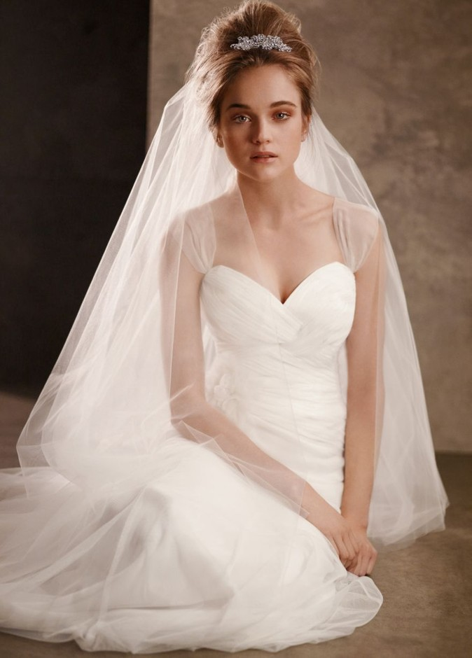 Soft Net Gown with Delicately Draped Bodice - David's Bridal- mobile