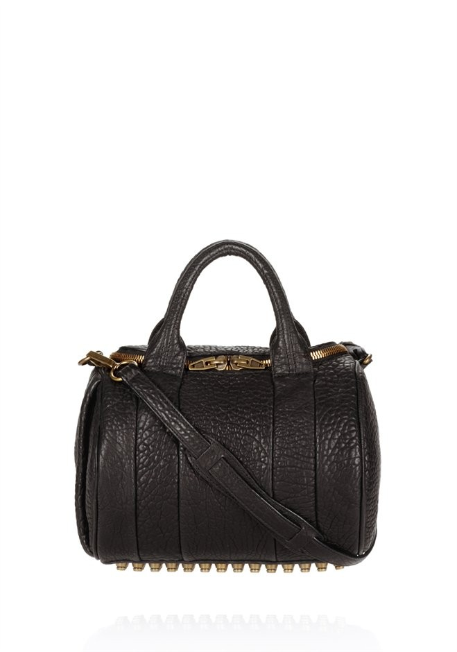 Black Rockie In Black Pebble Lamb With Antique Brass - Alexander Wang