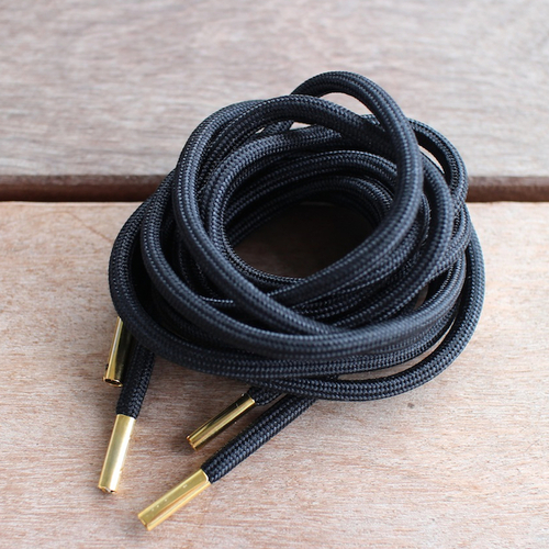 [beauty & youth別注] METAL TIP ROPE LACES [BLACK/GOLD] | getabaco