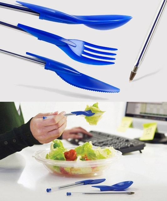 Amazon.com: Dine Ink Pen Cap Eating Utensils - Funny novelty utensils: Office Products