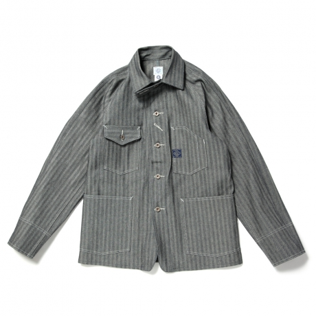 "A-1 CLOTHING / POST O'ALLS / #1102 Engineer's Jacket ""Fisher Stripe / Indigo"""