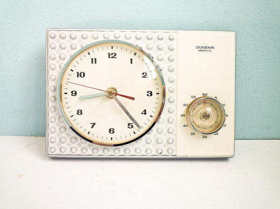 Etsy Transaction - TEMP RESERVED FOR Ca - Vintage 60s kitchen wall clock with timer porcelain ceramic