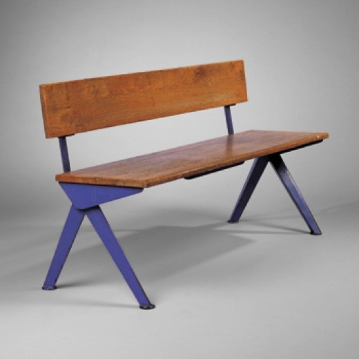 Bench by Jean Prouve, France, 1954. | plates, pans, tables, chairs