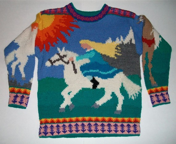 Nine/Ten Year Horses Sweater by amarinalevin on Etsy