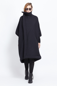 Totokaelo - Rick Owens Lilies - Quilted Sail Coat - Black Quilt