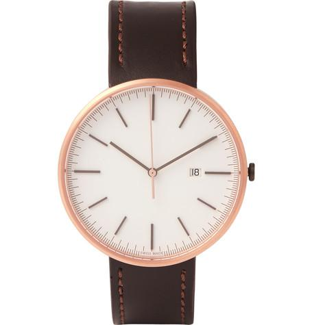Uniform Wares - M40 Rose Gold PVD-Plated Stainless Steel and Cordovan Leather Wristwatch
