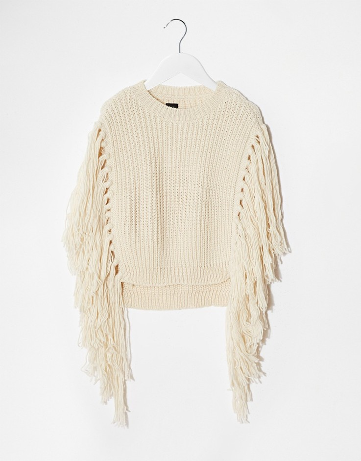 ASOS   ASOS Knitted Cape With Fringe Detail at ASOS