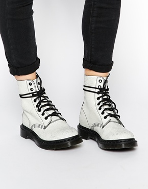 Dr Martens | Dr Martens Core Pascal White/Black 8 Eye Ankle Boots at ASOS