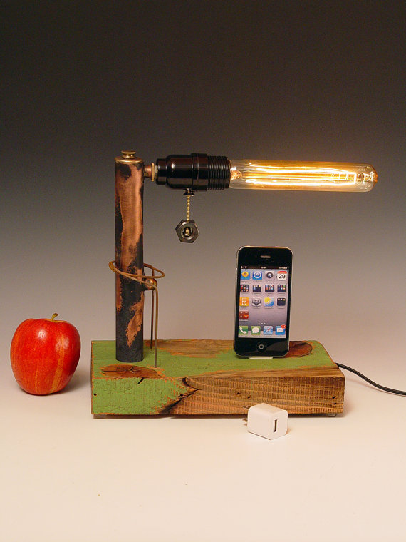 iPhone dock AND table lamp Recycled wood & copper by hairqueen48