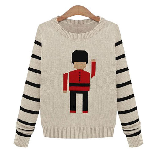 [grzxy6600964]Black Stripes Cute Solider Pattern Knit Sweater Crewneck Pullover on Luulla