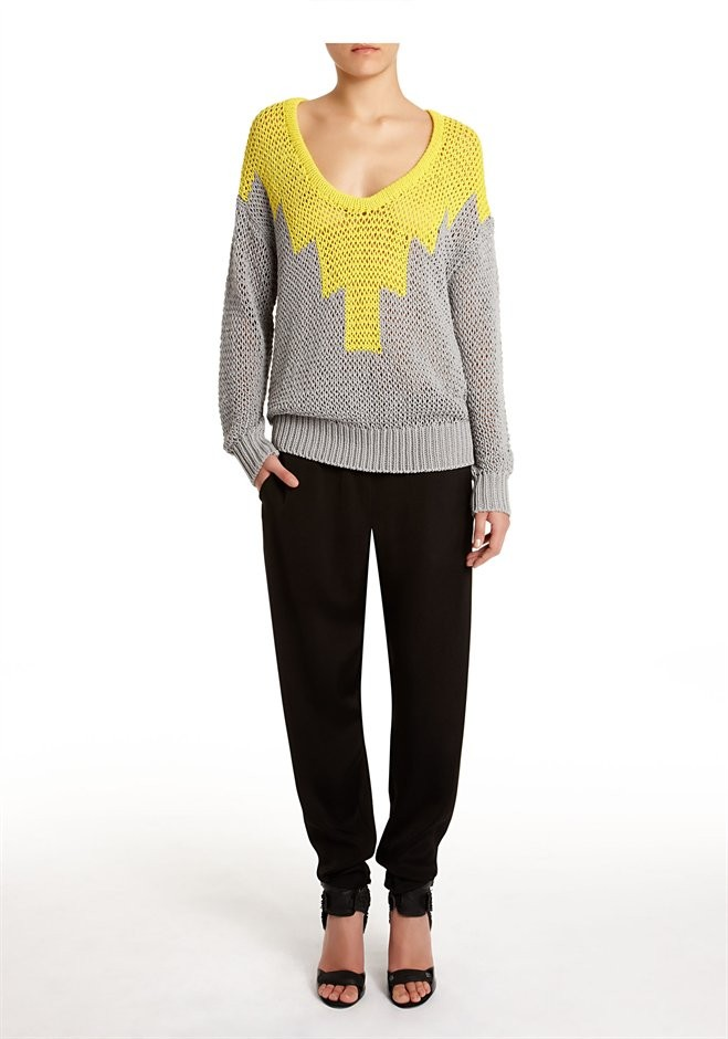 Citrus And Grey Hand Knit Intarsia Deep U-Neck Pullover - Alexander Wang