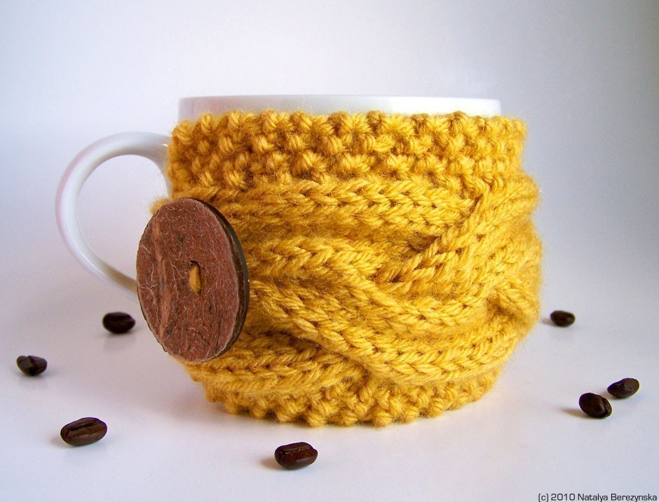 Honey Yellow Cup Cozy Mustard Mug Cozy Coffee Cozy by natalya1905