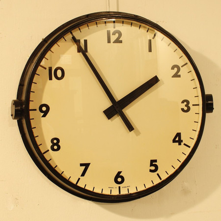 Industrial Gents Factory Clock Made in England c1930.