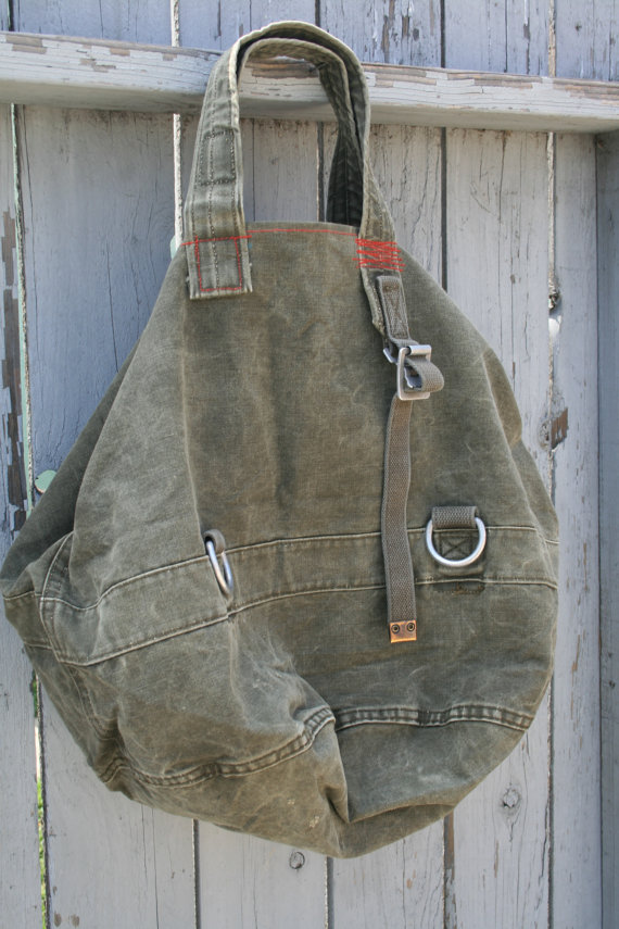 Upcycled Vintage German Military Duffle Bag Tote XXL by bodhitree