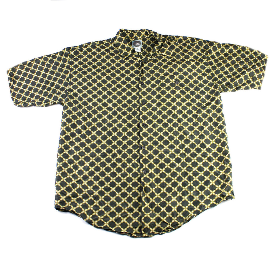 Vintage 90s Green/Gold Silk Button Up Shirt Mens Medium | Vintage Mens Goods