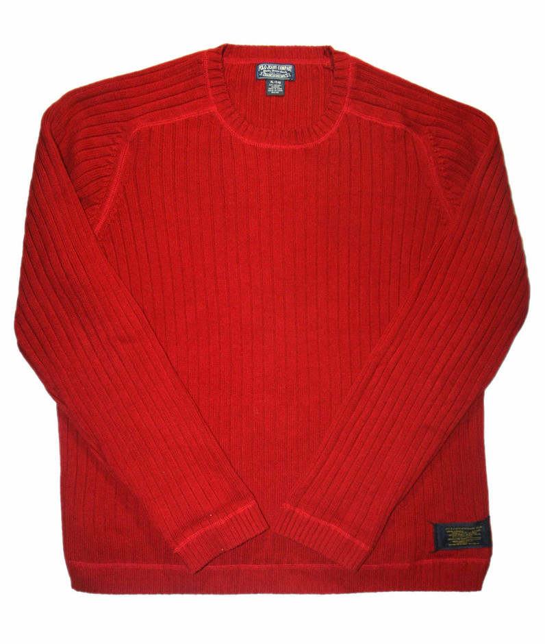 Vintage Ralph Lauren Polo Jeans Company Red Sweater Mens Size XL available at Vintage Mens Goods. | vintagemensgoods