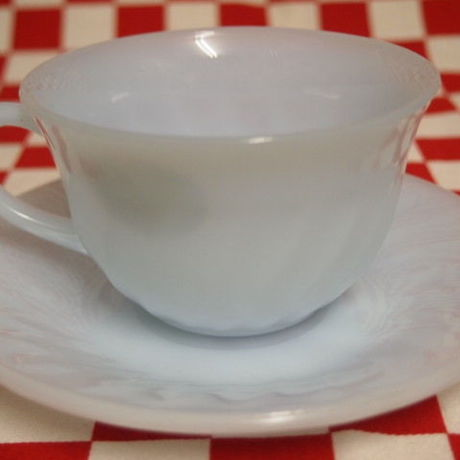 Fire King Azurite Swirl Cup & Saucer #61 | Jadeite Magic Gallery