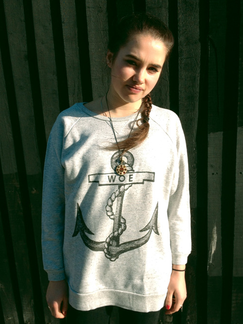 WOE ANCHOR grey oversize sweatshirt / The Orphan's Arms