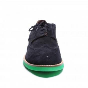 Men's Navy Suede Wingtip with Navy Laces. Kelly Green Micro Featherweight Sole. Leather Lining. Handmade in Italy.