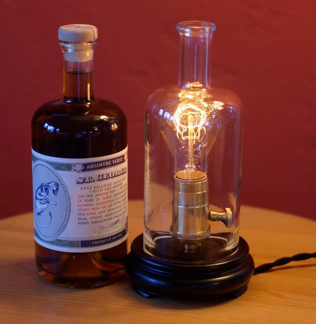 Apothecary Bottle Table Lamp with builtin dimmer by emilywinston