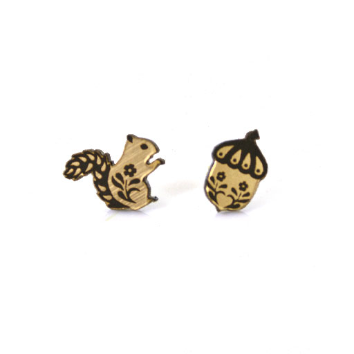Squirrel and acorn studs [GE SQUIRREL metal] - $22.00 : A Skulk Of Foxes