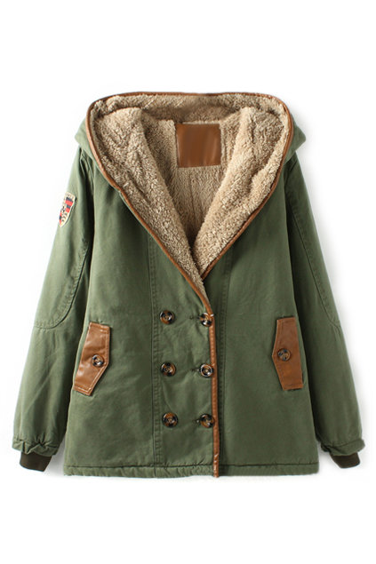 ROMWE | ROMWE Double-breasted Panel Faux Leather Hooded Army-green Coat, The Latest Street Fashion on Wanelo