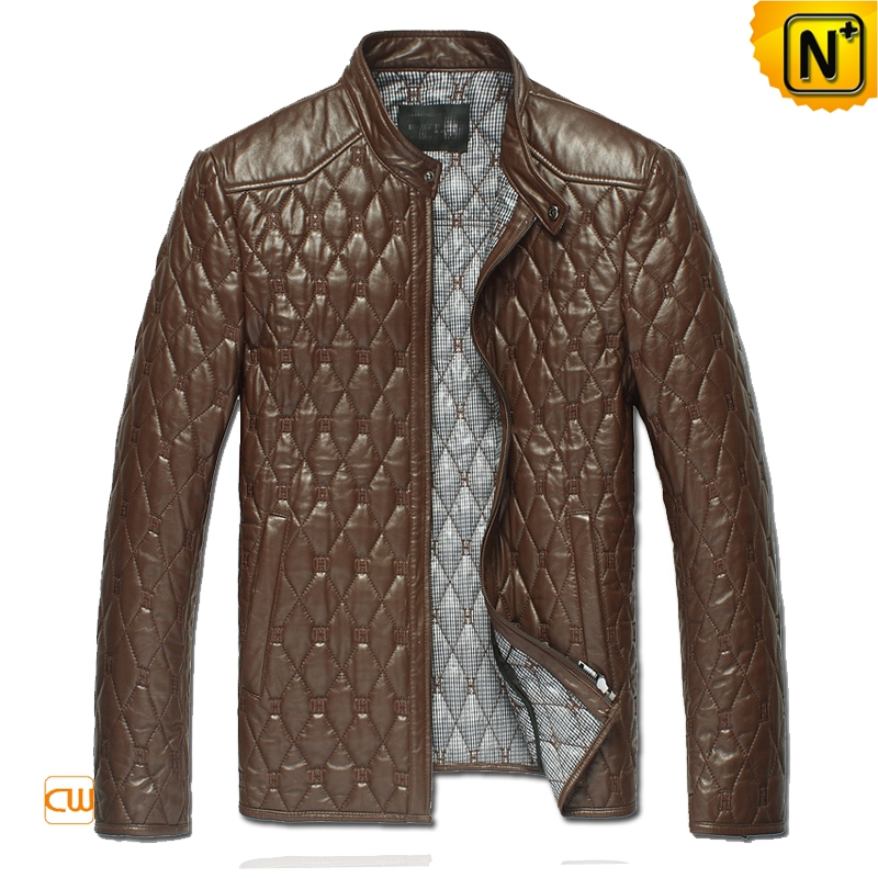 Men's Embroidery Quilted Leather Jacket CW821001   CWMALLS