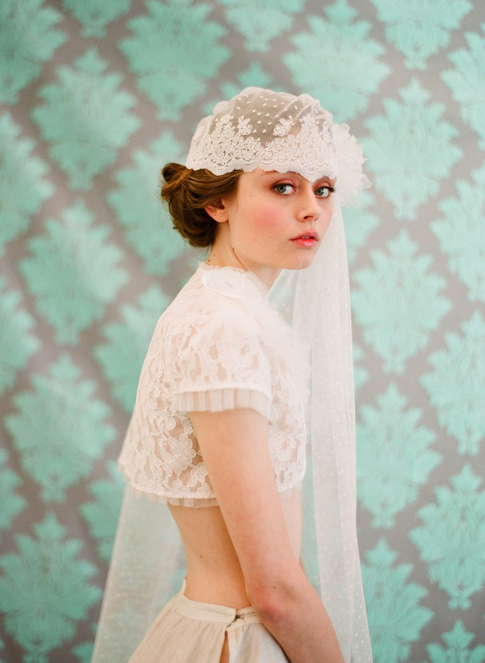 Bridal lace cap with veil french and vintage inspired by myrakim