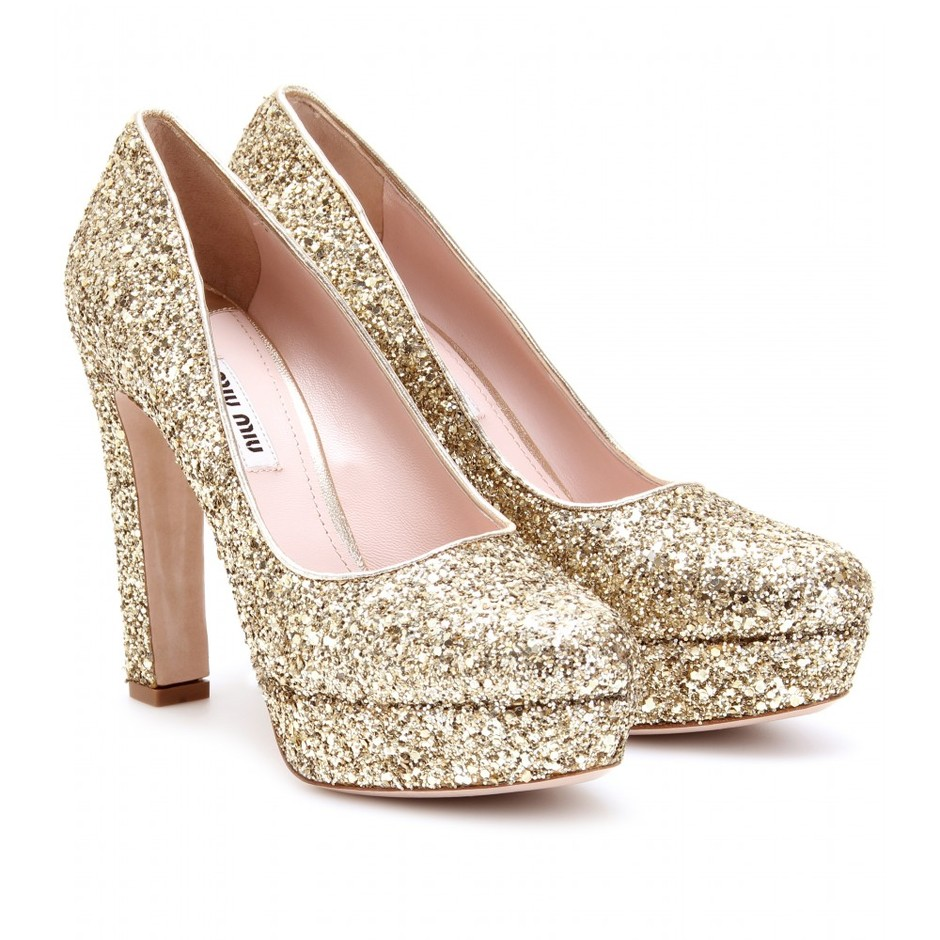 mytheresa.com - Miu Miu - GLITTER PLATFORM PUMPS - Luxury Fashion for Women / Designer clothing, shoes, bags