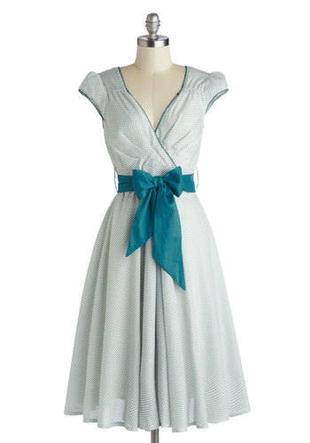 Have the Dance Floor Dress in Teal Dots | Mod Retro Vintage Dresses | ModCloth.com