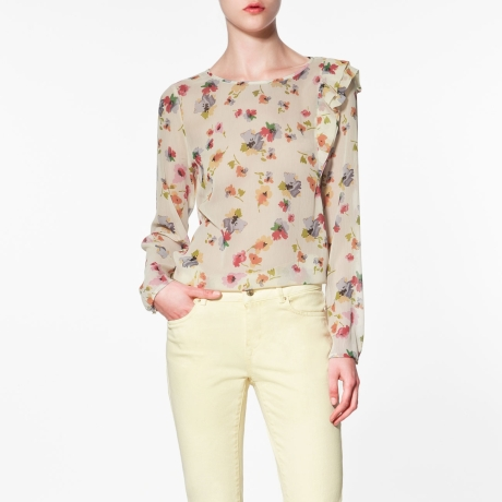 Zara Printed Top with Shoulder Frill