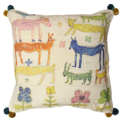 Colorful   Whimsical / Stacked Animals Pillow by Sugarboo Designs   We Heart It