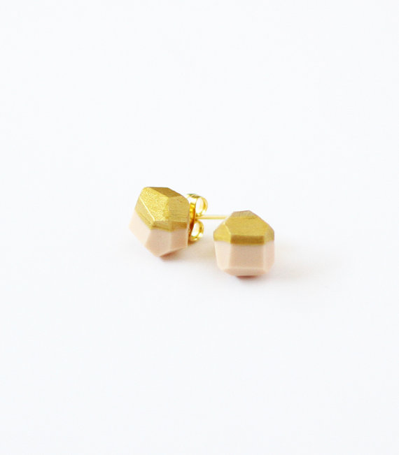 pale pink gold dipped earrings by amerrymishap on Etsy