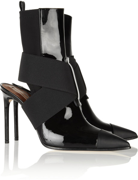Reed Krakoff|Cutout leather and neoprene ankle boots|NET-A-PORTER.COM