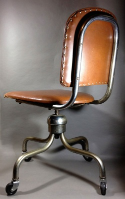 """Desk Accessories - 1950's """"Studded Backrest"""" Swivel Desk Chair - FUNNY SUPPLY □ Antiques ■"""