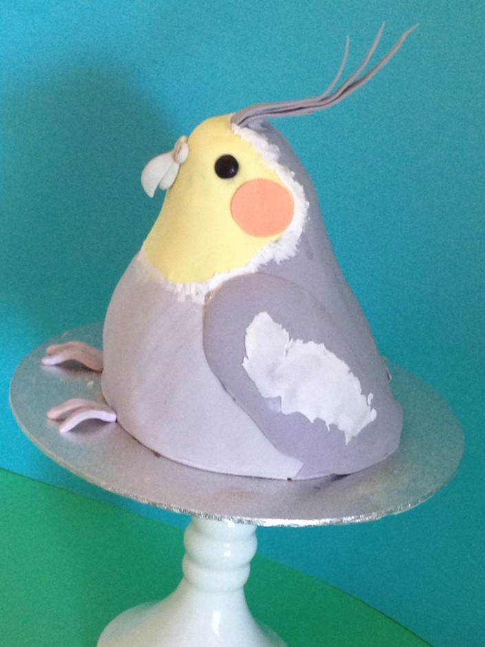 Cockatiel cake (minus tail - oops!) | Cake and Whimsy