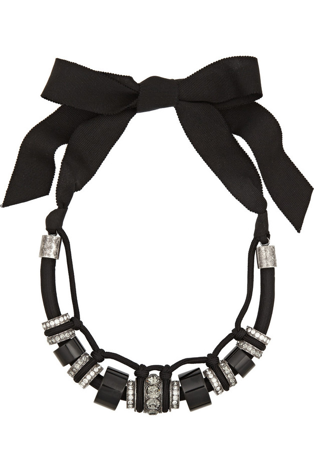 Lanvin | Gunmetal-tone, bead and crystal necklace | NET-A-PORTER.COM