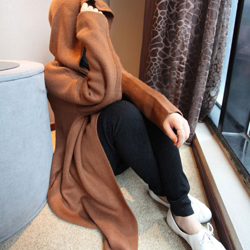 [grxjy560384]European Style Simple Cool Oversize Pure Color Hooded Cardigan / pgfancy- fashion online shopping mall