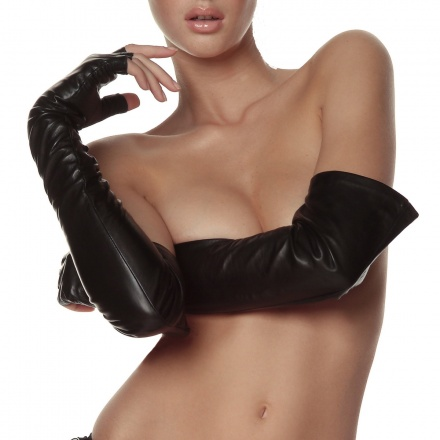 Leather Fingerless Opera Gloves | Leather Fashion Accessories | Kiki de Montparnasse