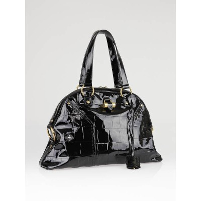 Yves Saint Laurent Black Croc Embossed Patent Leather Muse Bag - Yoogi's Closet
