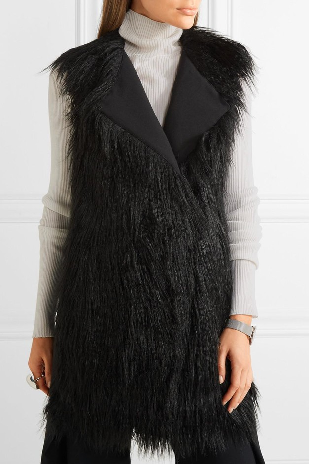 Theory | Nyma faux shearling and crepe gilet | NET-A-PORTER.COM