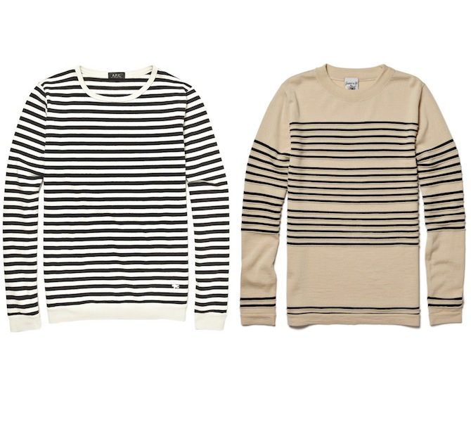SNS Herning Crew Neck Wool Striped Sweater A.P.C. Striped Sweater discount sale voucher promotion code   fashionstealer