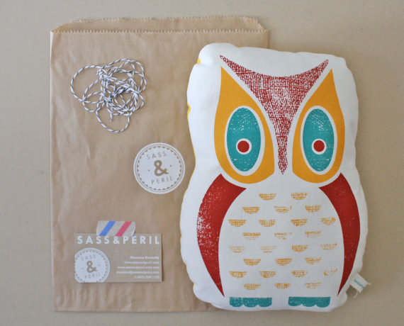 Owl Screenprinted Pillow 3color Hand Printed by sassandperil
