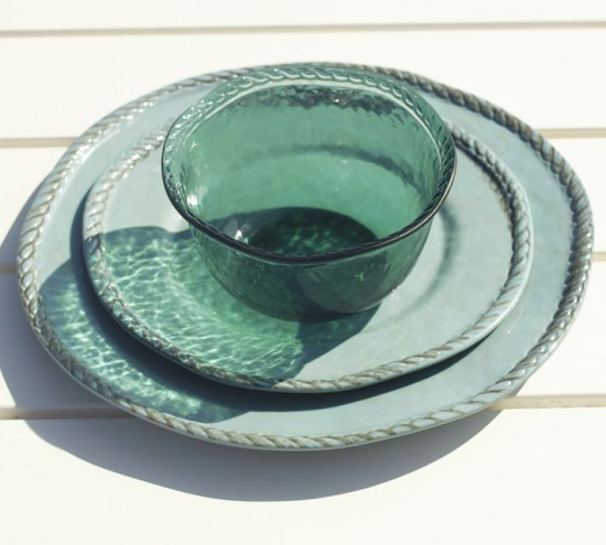 Organic Déco / Pottery Barn - Rope Outdoor Dinnerware, Turquoise