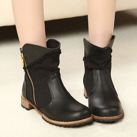 [grxjy5190124]Roman Style Leisure Retro Patch Slant Zip Bootie / pgfancy- fashion online shopping mall