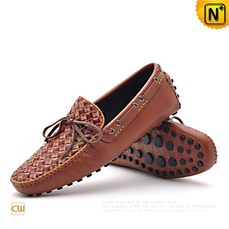 Mens Brown Leather Driving Loafers Shoes CW712037 - cwmalls.com